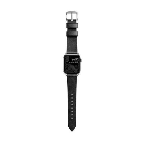 Leren Nomad Apple Watch bandje - Modern - Zwart - Zilver