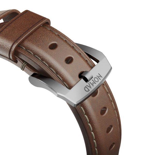 Leren Nomad Apple Watch bandje – Traditional - Bruin - Zilver