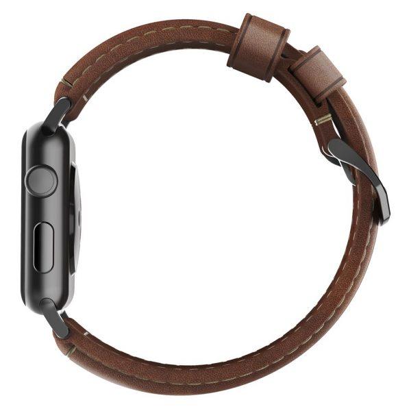 Leren Nomad Apple Watch bandje – Traditional - Bruin - Zwart
