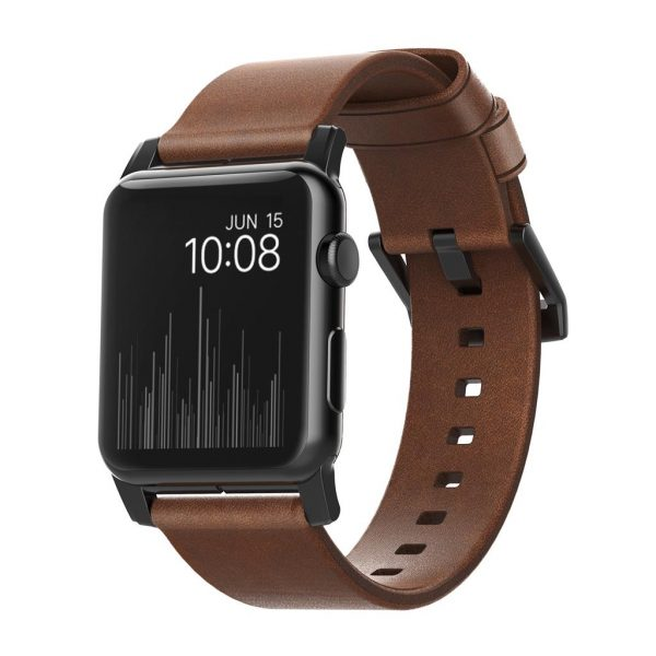 Nomad Apple Watch bandje – Modern - Bruin - Zwart