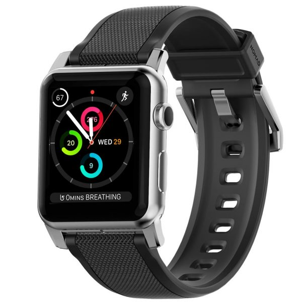 Nomad Apple Watch bandje - Rugged - Zwart - Zilver
