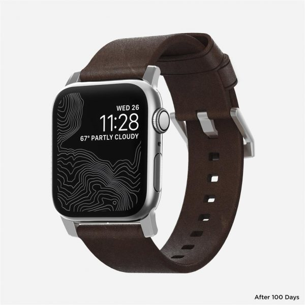 Nomad Apple Watch bandje – Modern – Bruin – Zilver