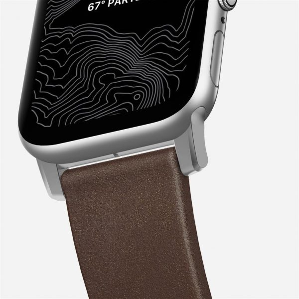 Nomad Apple Watch bandje – Modern – Bruin – Zilver