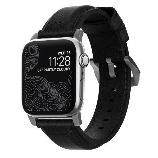 Nomad Apple Watch bandje - Traditioneel - Zwart - Zilver