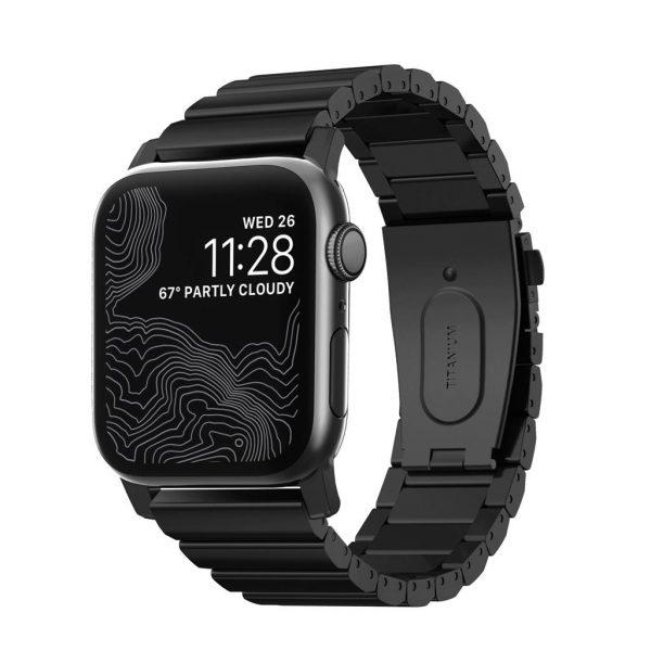Nomad Apple Watch bandje – Titanium – Zwart – Zwart