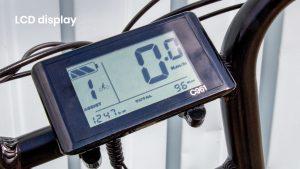 Handig LCD scherm met indicatie voor batterij, snelheid en gereden kilometers